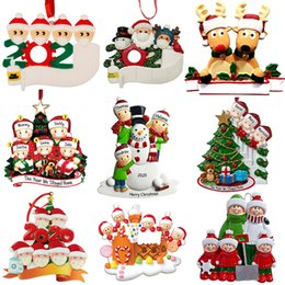 Wholesale Christmas Personalized Ornaments Survivor Quarantine Family of 2 3 4 5 6 Mask Snowman Hand Sanitized Xmas Decorating Creative Pendant Toys