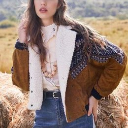 Wholesale lambs wool fur coat resale online - New Winter overcoat Thick warm Womens Lambs Wool Coat Leather Jacket Winter Thick Woman Lapel Fur Coats Tops Outerwear Wool fur Cotton Print