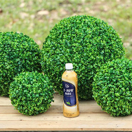 plastic green grass balls Australia - 1pc (4 Size) Large Green Artificial Plant Ball Topiary Tree Boxwood Wedding Party Home Outdoor Decor plants plastic grass bal