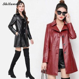 Discount sexy black leather jacket women Black Red Pu Leather Jackets Plus Size Women 2020 Fashion Mid-Long Windbreaker Solid Cool Overwear Coat Sexy Streetwear