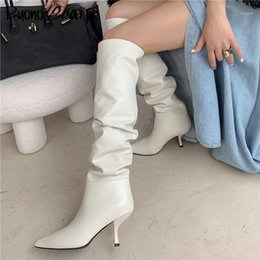 female kitten sexy 2021 - Sexy Slim Women Boots Pointed Toe Pleated Brand Designer Shoes Genuine Leather Stiletto Kitten Heel Dancing Boots Female Shoes1