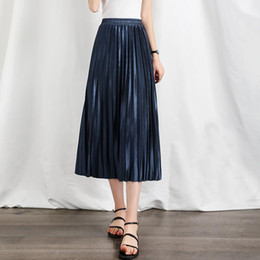 Wholesale mid calf pleated skirt chiffon resale online - Women s Chiffon Pleated Skirt New Long Skirts Female High Waist Draped Skirt Casual Vintage Fashion Simple Mid Calf Skirts