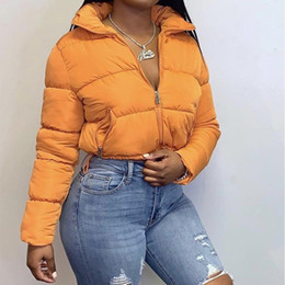 Wholesale women jacket puffer resale online - Cropped Puffer Jacket Down Parkas Fashion Winter Clothes Women Warm Bubble Coats Orange Black Outwear