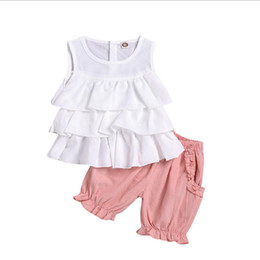 cute outfits tank tops NZ - 2020 kids designer clothes girls 2pcs girl's outfits Girls floral tank vest tops+shorts kid bowknot suit baby girl designer clothes pur