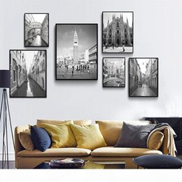 Wholesale ink city online – design Old Building Landscape Canvas Poster Nordic Decoration Watery City Venice Wall Art Print Painting Scandinavian Home Decor