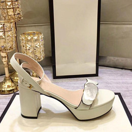no back lace wedding dresses 2021 - Platform high heels leather golden sandals with metal buckles fashion ladies dress shoes beautiful wedding shoes