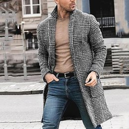 Wholesale cashmere shirt jacket for sale – custom Casual Winter Houndstooth Gentleman Long Jacket Coat High Quality Men s Tops Shirt Fashion