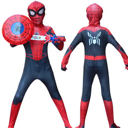 Wholesale miles morales costume for sale – halloween Halloween costume Childrens red and bla Spider hat verses spider Miles Morales Cosplay Zentai Spider pattern Body Bodysuits