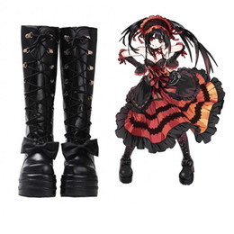 Wholesale cosplay anime girl japanese resale online - New Japanese Anime DATE A LIVE Tokisaki Kurumi Cosplay Shoes Lolita Shoes Womens Girls Halloween High Heel Boots Black PU Leather w Bowknot