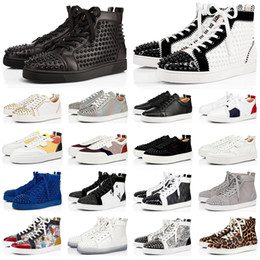 high fashion sneakers gold glitter 2021 - Mens red bottoms shoes women high top spike sneakers Triple black white grey glitter leather suede flat casual shoe fash