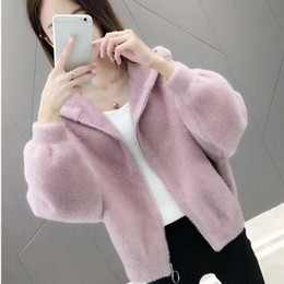 Wholesale knitted mink fur coat jackets resale online - Women Short Solid Faux Mink Fur Coat Hooded Fluffy Jacket