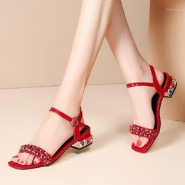 Women/'s Fashion T-Strap doux Chunky Talons Boucle Été Sandales Loisirs Chaussures L