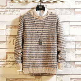 Wholesale sweaters for mens resale online – Mens Fashion Classic O Neck Striped Sweater Oversize Pull Plus Size M XL Long Sleeves Pullover For Spring Winter