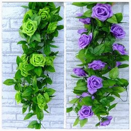 artificial white rose vine NZ - 240CM long Artificial rose Silk Flower Vine Green Leaf Vine Garland for Home Wall Party Decorations 8 color