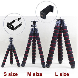 Wholesale mobile camera stands resale online - 3 Sizes Sponge Flexible Octopus Mini Medium Large Size Tripods Stand Bracket Holder For Mobile Phone Camera with Retail Box