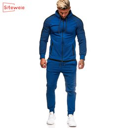 Wholesale zip up jogger resale online - SITEWEIE Men Two Piece Sets Zip Up Sweatshirts and Sweatpants Trousers Suits Men Sportswear Tracksuits Joggers Runing Sets G506 Q0125