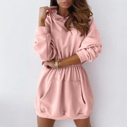 Women Oversized Hoodies Dress Autumn Warm Oversized Long Sleeve Sweatshirt Casual Pocket Hoodies Dresses Plus Size