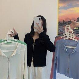 Wholesale pink woman polo for sale – custom 1HLKP women s Korean double polo collar long sleeve polo short cardigan Korean double knitted collar long sleeve Jacket zipperzippe