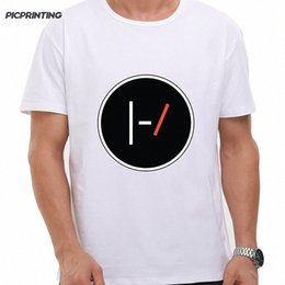 wholesale rock band t shirts UK - Summer Fashion Rock Band Twenty One Pilots T Shirt Men Summer Fitness High Street Clothing Tees 21 PILOTS White Printed Tshirts White tACk#