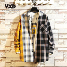 oversized shirts men Australia - Korean Style Mens Oversized Cotton Plaid Shirt 2020 Harajuku Hip Hop Patchwork Shirts For Men Fashion Blouse Couple Clothing