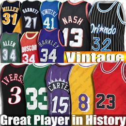 Toptan satış Vintage Vince Allen Carter Iverson Jersey Siyah Mamba Steve Hakeem Nash Olajuwon Formalar Ray Garnet Allen Miller Hill Rodman Malone McGrady