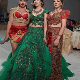 champagne gowns india 2021 - Two Piece Hunter Gold Green India Style Prom Dresses with Sleeves 2021 Two Pieces Dubai Abaya Arabic Puffy Evening Wear