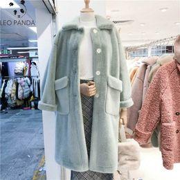 Wholesale plus size mink fur coats resale online - 2020 Spring Women Long Faux Mink Fur Jacket Thick Plush Coat Female Hairy Overcoat Fluffy Warm Outerwear Plus Size