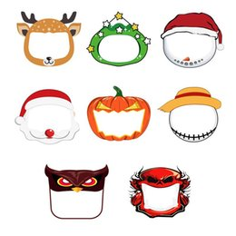 Wholesale costum cosplay resale online - Anime Kids Party Face Shield Designer Face Masks Cartoon Patterns Christmas Halloween New Year Cosplay Costum Protective Masks OWB2300