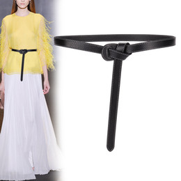 thin girl party dress Australia - High quality casual belts party real genuine leather female simple knot thin belt dress DIY buckle solid cowhide waistbands girl