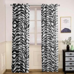Wholesale Imitation linen printed decoration curtains bedroom Shading Finished curtain Black and white zebra stripes curtain custom made