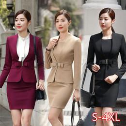 Wholesale Hot Wine Black Apricot female elegant woman's office blazer dress jacket suit ladies office wear sets costumes business dresses