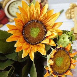 sunflower home decor Canada - Living Room Home Decor Wedding Garden 13 Heads European Style Fake Sunflower Artificial Flowers Party Desktop Office Bouquet nhup#