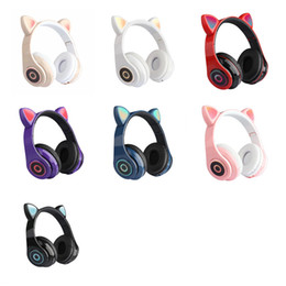 Wholesale Newest Cat Ear LED Headset Bluetooth 5.0 Light Up Game Headsets Girl's gift wireless sport