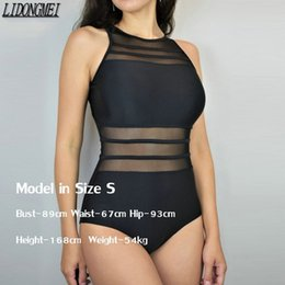Discount mesh high neck swimsuit New Black Mesh One Piece Swimsuit Swimwear Women Sexy High Neck Bathing Suit Women Backless Plus Size Swim Wear Temperam