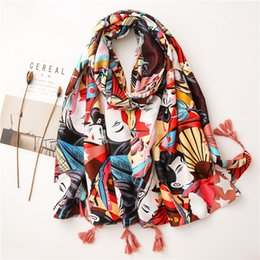 Discount ethnic scarves cotton Chinese Style Beauty Figure Desert Tourism Big Shawl Female Scarf Sun Protection Warm Ethnic Style Scarf