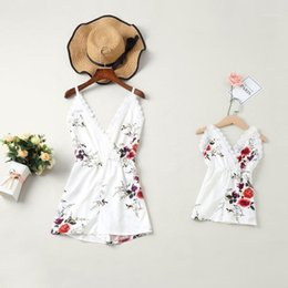 Wholesale PPXX Beach Baby Girl Dress Women Jumpsuit Dress Lace Mother Daughter Dresses Family Matching Clothes Family Outfits Suits1