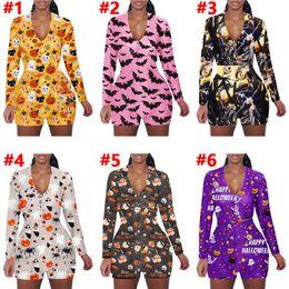 Wholesale siamese trousers for sale – dress Women Jumpsuit Romper Halloween Printing Long Sleeves Shorts Home Jumpsuits Cartoon Cute Bat Ghost Pumpkin Siamese Trousers Colors D102302