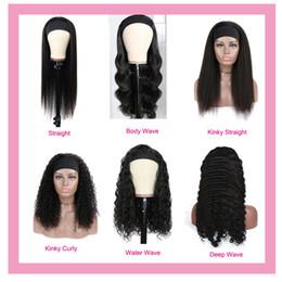 Human Hair Capless Wigs Peruvian Virgin Hair Headband Black Full-machine Body Wave Deep Wave Kinky Curly Straight 100% Human Hair 10-32inch