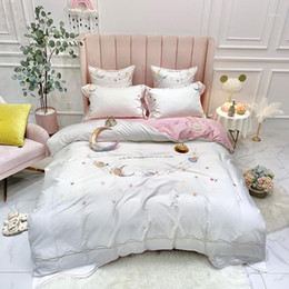 moon stars bedding 2021 - 37 Stars moon embroidery Bedding Sets Beddingset egyptian cotton Bed Linen Duvet Cover Bed Sheet Pillowcase 4 6pcs Sets1