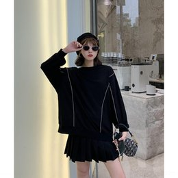Wholesale flash pullover online – oversize FQZhL Autumn new all matching light flash sweater g slee sweater material three color round Pullover Terry Sweaterneck sweaterTop long pul