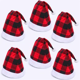 Wholesale red captain hats for sale – halloween Santa Claus Christmas Hats Red Black Plaid Xmas Cap Short Plush with White Cuffs Fabric Noel Hat Decoration EWC2981