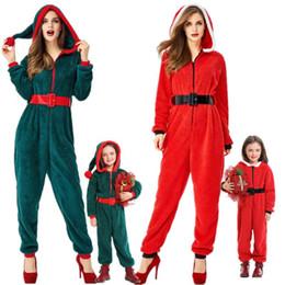 yılbaşı aile Pajam Yetişkin Çocuk Noel Kapşonlu Tulum Kadınlar Kadife Pijama Noel Kostüm Noel Fantasia Cosplay Parti Elbise