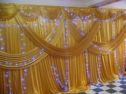 Discount draping for wedding backdrop Gold Ice Silk Wedding Backdrops with Swag Stage Background Drape and Curtain 20ft (w) x 10ft (h) for wedding decoration1