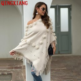 Wholesale plus size faux fur capes for sale - Group buy 2020 Autumn Winter Women Plus Size Triangle Tassel Knitted Sweaters Shawl Fur Ball Poncho Cape Faux Fur Loose Beading Pullovers