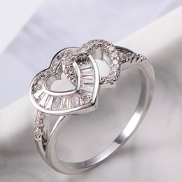 ladies cluster rings NZ - Crystal Zircon Double Heart Ring Ladies Charm Fashion Double Heart Zirconium Metal Jewelry Ladies Jewelry Engagement Party Gift