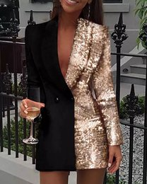 Wholesale orange sequin bodycon dress for sale - Group buy Women Blazer Dress Colorblock Pink Sequins Long Sleeve Double Breasted Party Bodycon Dress