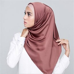 muslim shawl satin 2020 - Muslim Hijabs Scarf Women Malaysia Style Fashion Satin Hijab Wrap Scarves Solid Shawls Headband Muslim 65x175CM 36 Color
