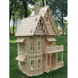 dollhouse 3d puzzle doll house NZ - Wood miniature dollhouse DIY doll house assembled Educational pretend play toys Mini 3D Stereo puzzle house for children girls Y200428