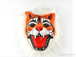Cosplay Full Fur Fur Parstern Realistic Full Latex Animal Mane Costume Maschera per il viso Halloween Creepy GB600 Maschera Tigre / Leone / Monkey / Wolf Part Purt VBNS