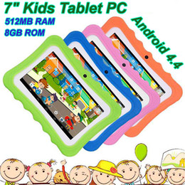 Wholesale Kids Tablet PC 7 inch Quad Core children tablets Android 4.4 Allwinner A33 google player wifi big speaker protective cover